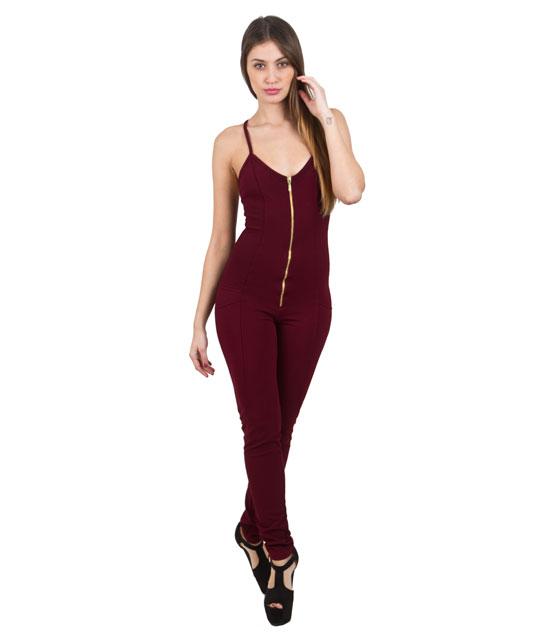 Ολόσωμη φόρμα με ελαστική τιράντα μπορντό ρούχα   ολόσωμες φόρμες