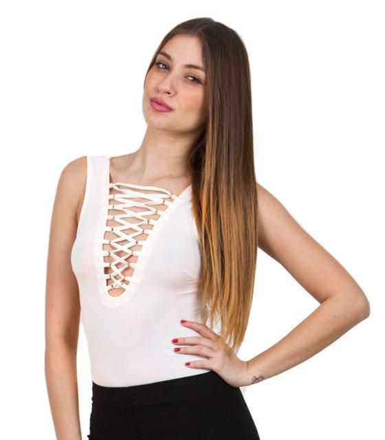 Κορμάκι με χιαστή στο στήθος πολύ ανοιχτό ροζ ρούχα   μπλούζες   top   κορμάκια