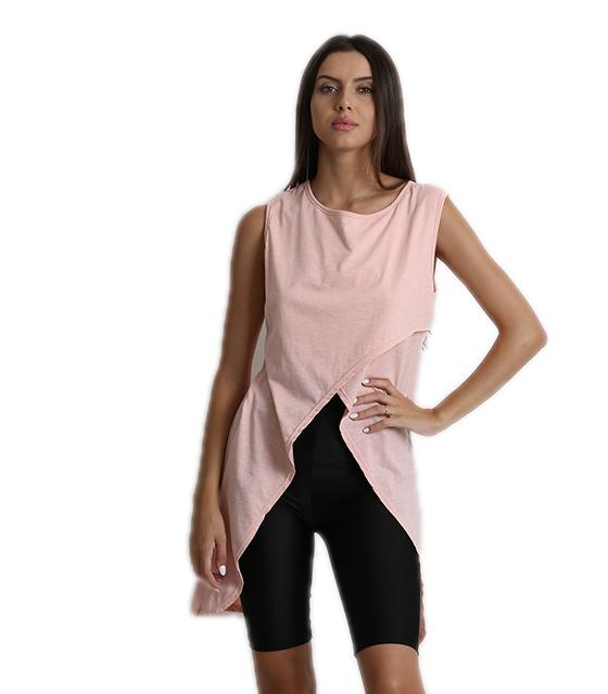 Μπλούζα αμάνικη με πλαινές μύτες ροζ