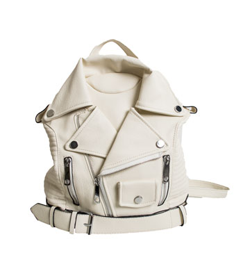 White backpack with silver zip