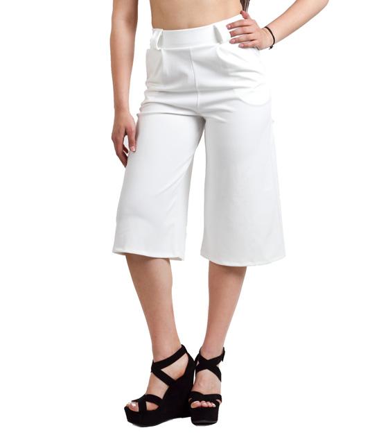 Ζιπ κιλότ παντελόνα λευκή ρούχα   bottoms   παντελόνια