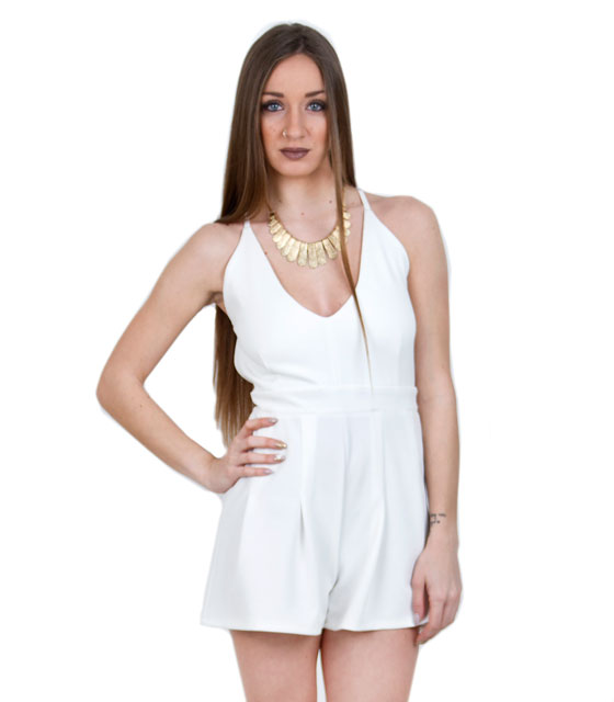 Backless playsuit white