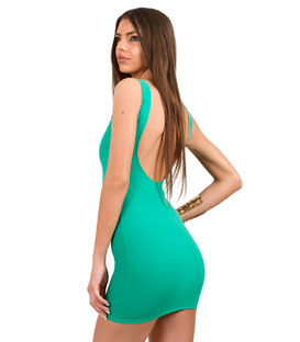 Shoulder Strap Mini Bodycon Dress with scoop back (Green)