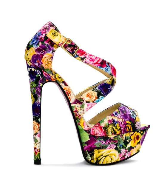 Floral Yellow High Heel Sandals