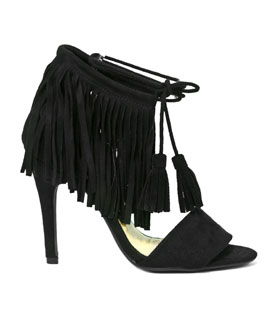 Heeled fringe sandals (black)