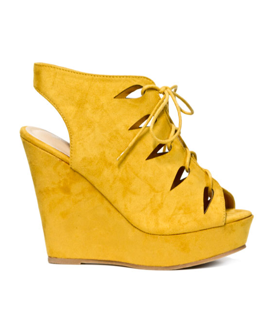 Suede lace up platform (yellow)