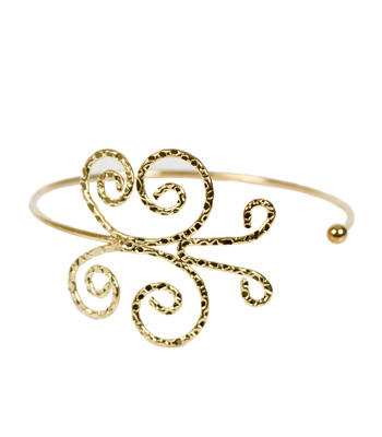 Double bar cuff bracelet with detail gold butterfly