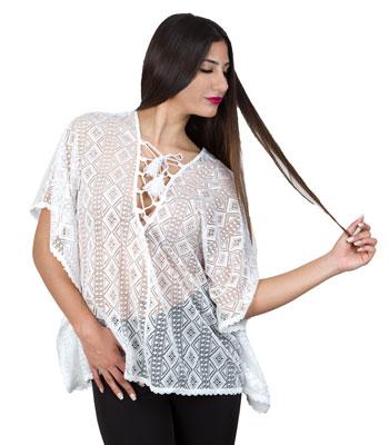 Mesh lace tunic white