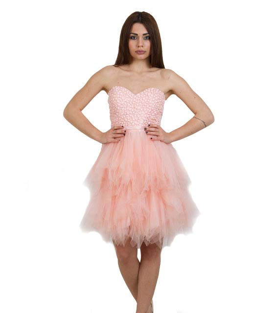 Strapless Tutu Dress with Tulle Skirt (Pink)