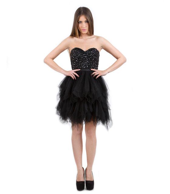 Tutu στράπλες μαύρο φόρεμα με τούλινη φούστα