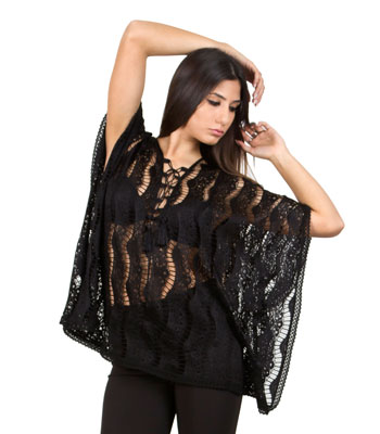 Mesh lace tunic black