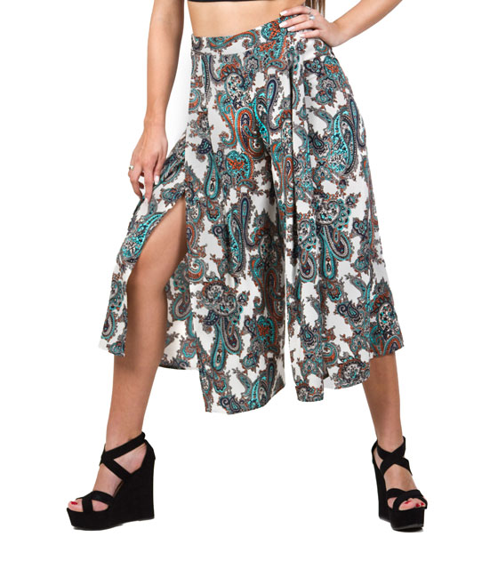 Boho ζιπ κιλότ μπεζ λαχούρ ρούχα   bottoms   παντελόνια