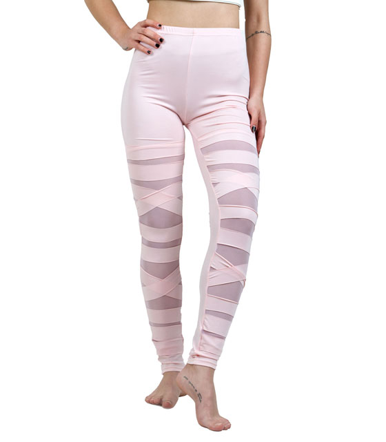 High waisted leggings with slits pink