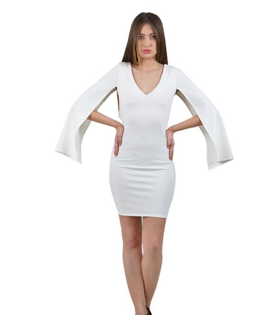Φόρεμα λευκό κάπα με ανοιχτά μανίκια