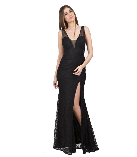 Lace Maxi Black Dress with scoop back