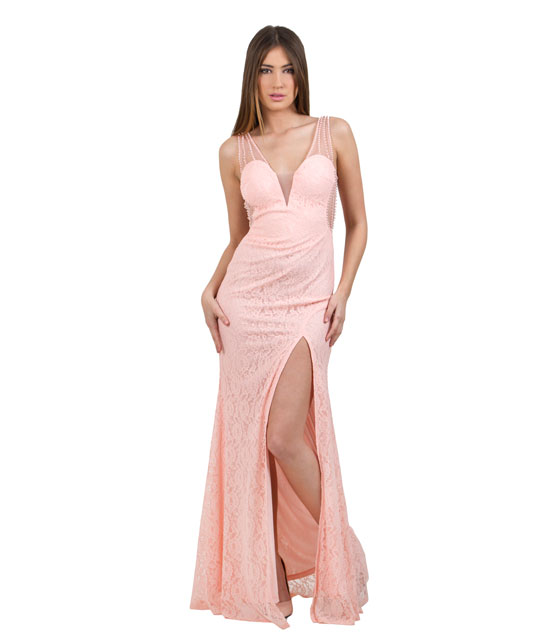 Lace Maxi Pink Dress with scoop back