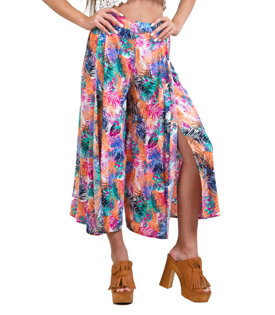 Zip culotte in tropical pattern