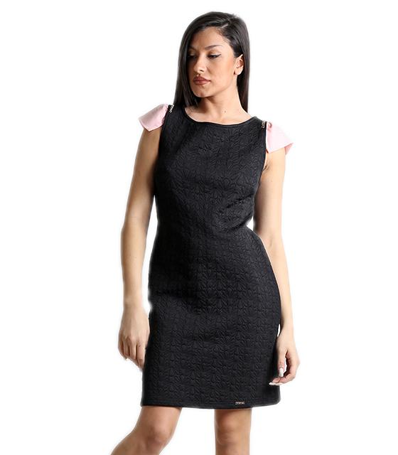 Φόρεμα μαύρο με ροζ μανίκι ρούχα   φορέματα
