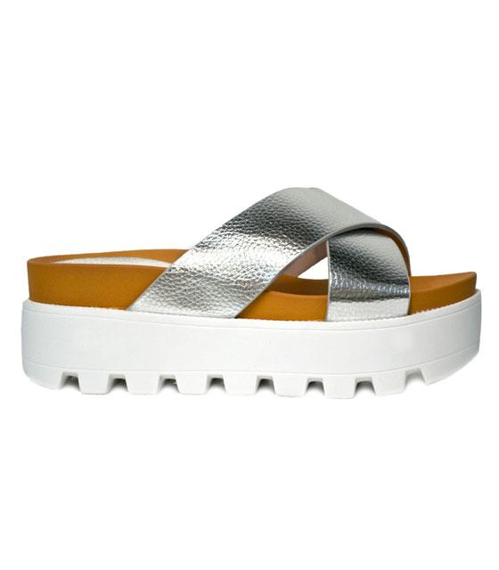 Δίπατη τρακτερωτή παντόφλα (ασημί) παπούτσια   παντόφλες