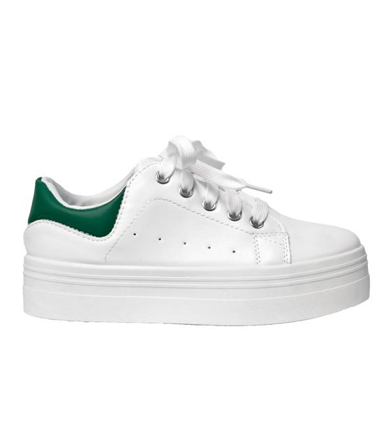 Sneaker δίπατο λευκό με πράσινη λεπτομέρεια