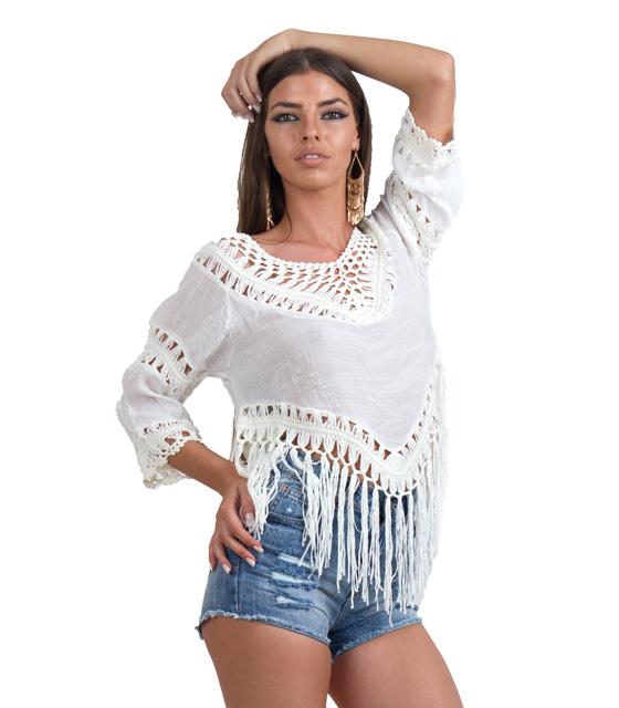Boho εκρού μπλούζα με κεντητές λεπτομέρειες