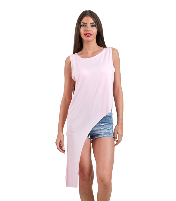 Ασύμμετρη μπλούζα ροζ
