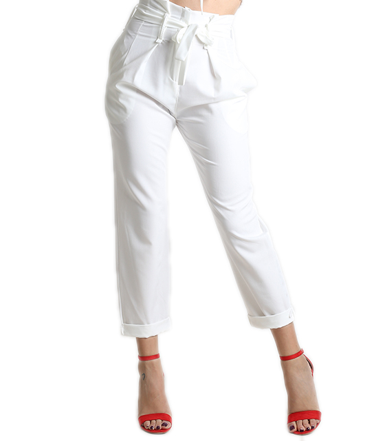 High weisted trousers with belt white