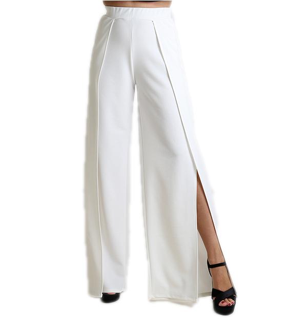 Παντελόνα με άνοιγμα λευκή