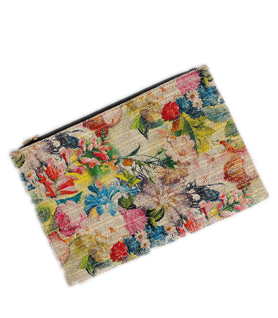 Bag envelope wicker beige patterned with flowers
