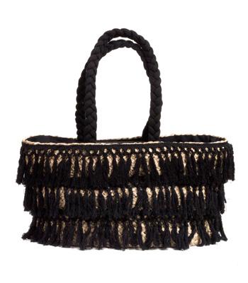 Ψάθινη τσάντα με μαύρα κρόσια και υφασματινα