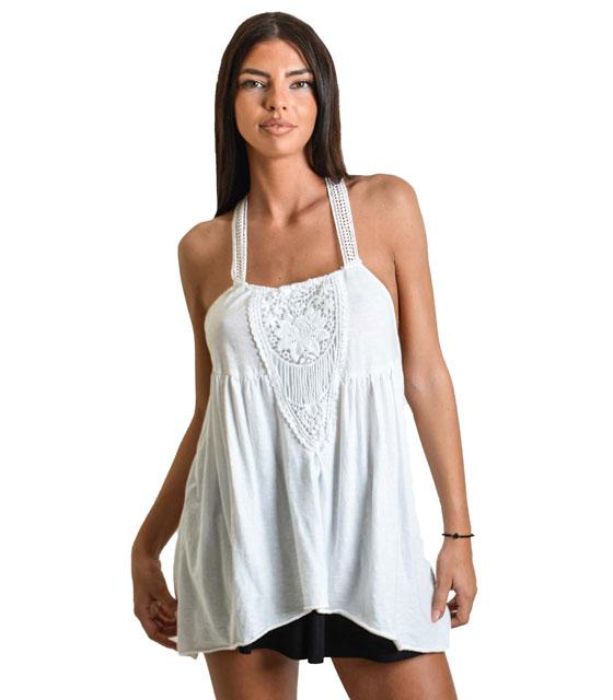 Μπλούζα με τιράντες λευκή
