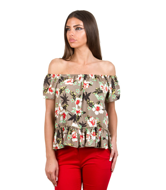 Floral shirt with flounce hem (khaki)