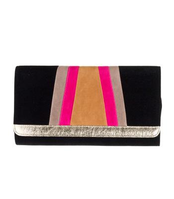 Τσάντα φάκελος σουέτ μαύρο με μπεζ-κάμελ-φούξ λεπτομέρειες