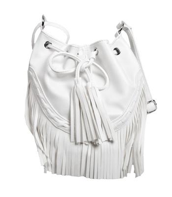 White fringed duffle bag