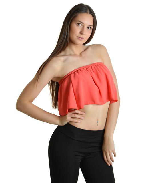 Μπούστο βολάν κοραλί ρούχα   μπλούζες   top   τοπάκια   μπουστάκια