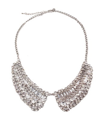 Silver rhinestone collar necklace
