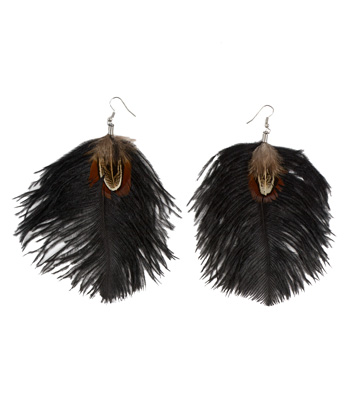 Feather earrings (Black)