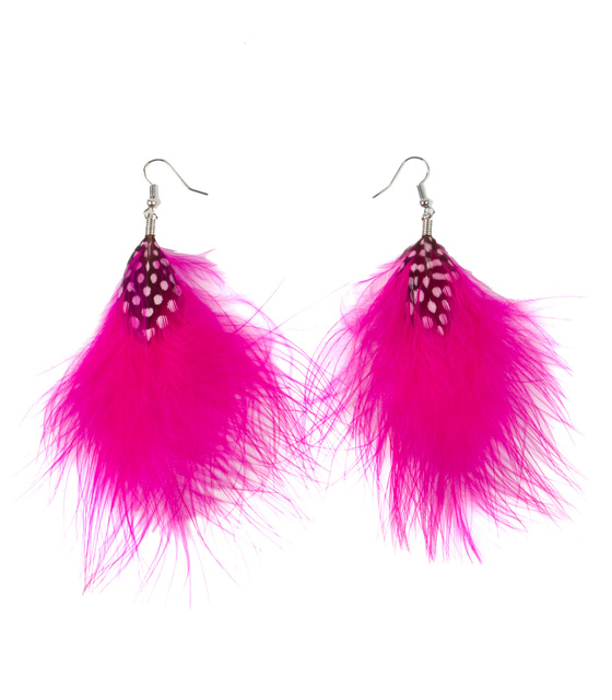 Feather earrings fucsia