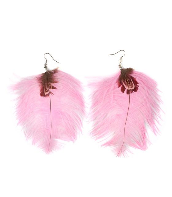 Feather earrings pink
