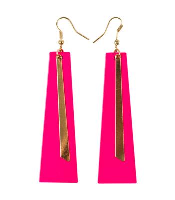 Σκουλαρίκια ροζ με χρυσές λεπτομέρειες