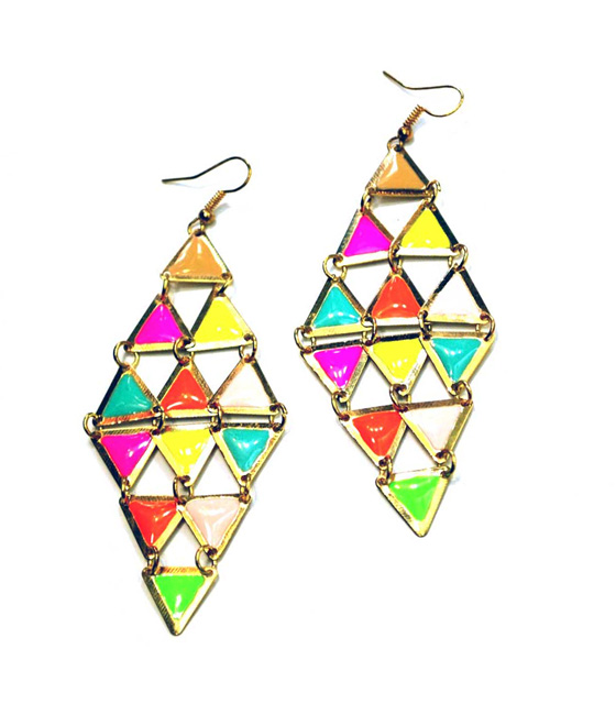 Gold Earrings colorful rhombus