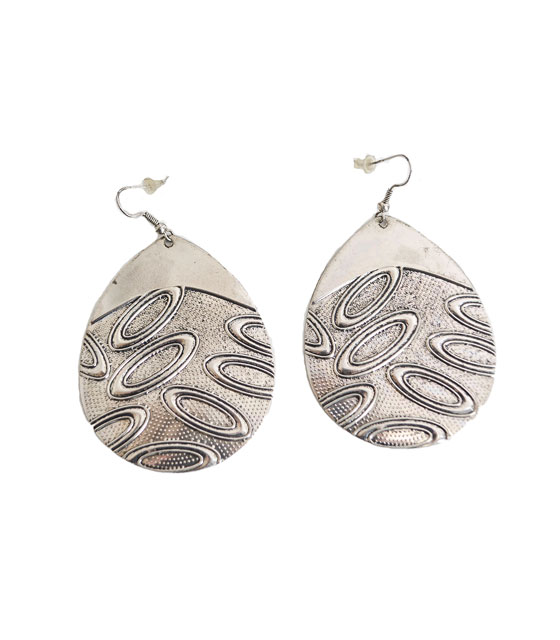 Dimpled hoop earrings silver