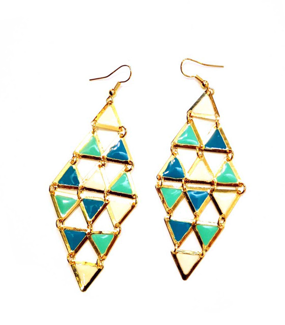 Gold Earrings vert rhombus