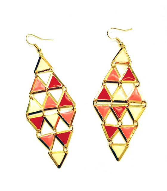 Gold earrings coral rhombus