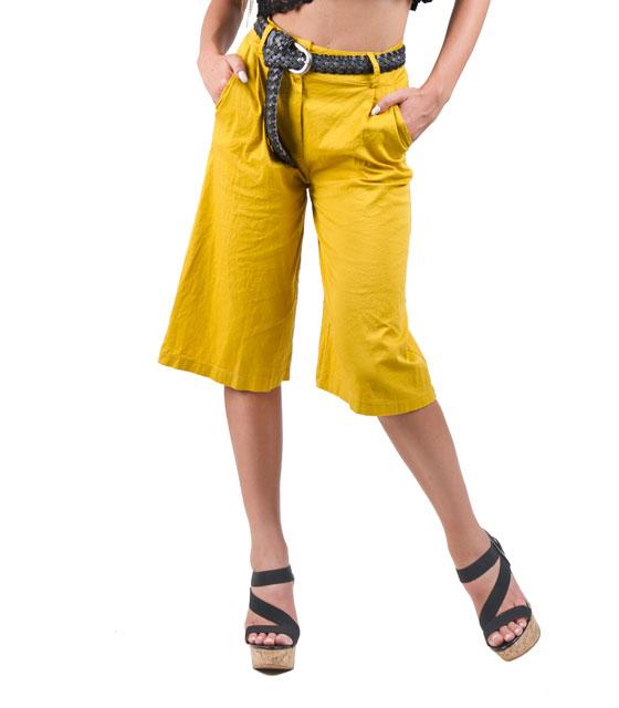 Ψηλόμεση ζιπ κιλότ κίτρινο ρούχα   bottoms   παντελόνια