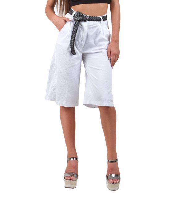 Ψηλόμεση ζιπ κιλότ λευκή ρούχα   bottoms   παντελόνια