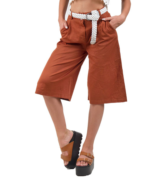 Ψηλόμεση ζιπ κιλότ κάμελ ρούχα   bottoms   παντελόνια