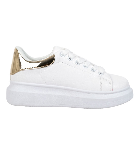 White sneakers with gold detail