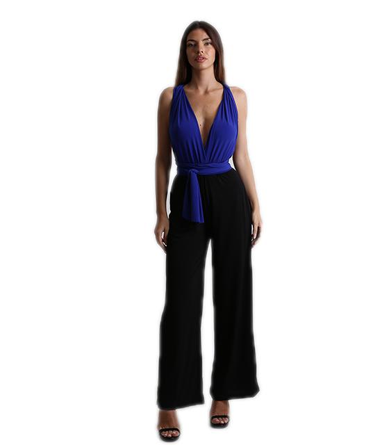 Πολυμορφική μαύρη ολόσωμη φόρμα με μπλε τοπ ρούχα   ολόσωμες φόρμες