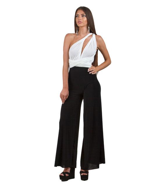 Πολυμορφική μαύρη ολόσωμη φόρμα με λευκό τοπ ρούχα   ολόσωμες φόρμες